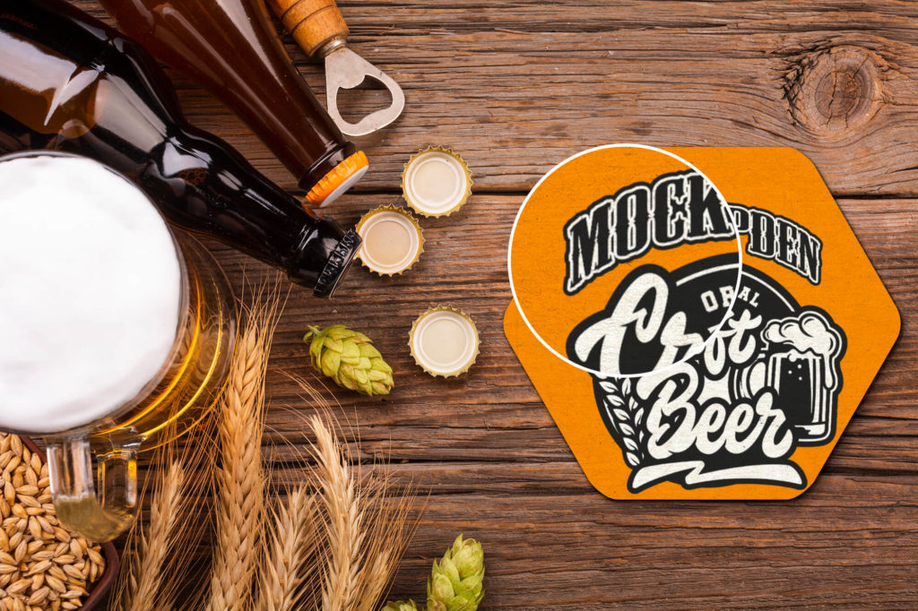 Close Up Of a Free Beer Coaster Mockup PSD Template