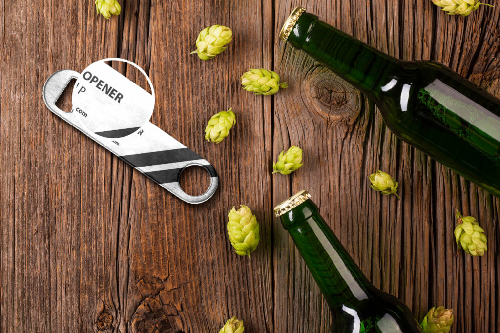 Close Up Of a Free Bottle Opener Mockup PSD Template