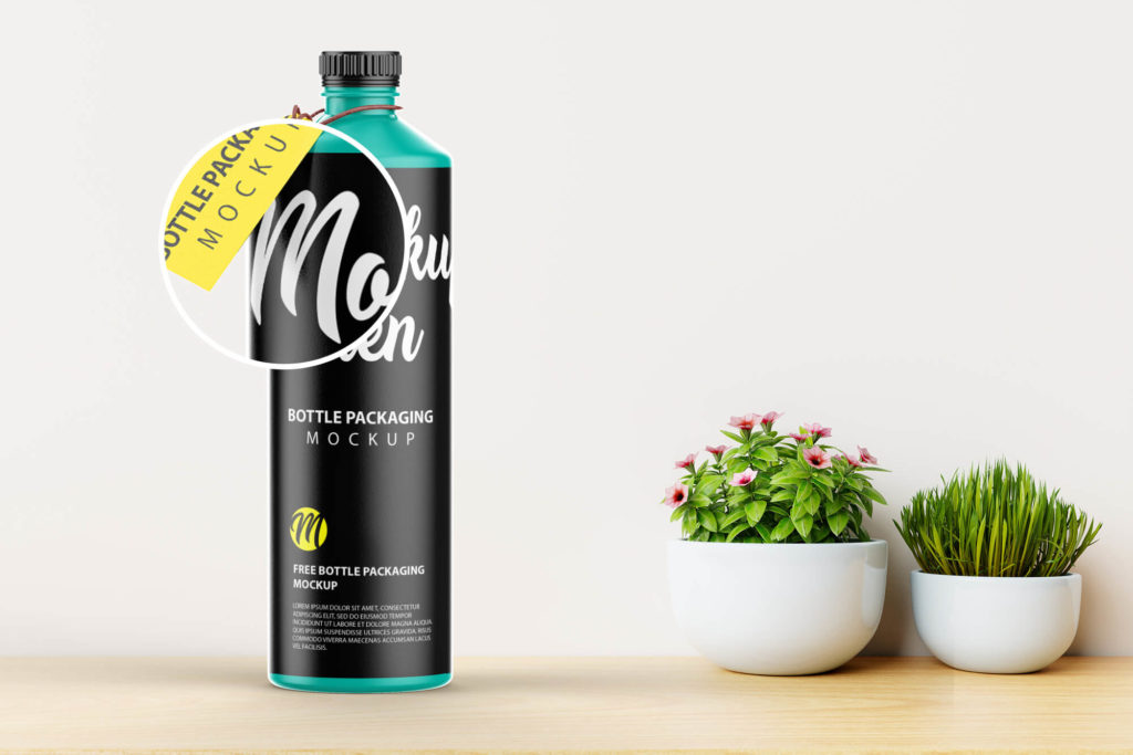 Close Up Of a Free Bottle Packaging Mockup PSD Template