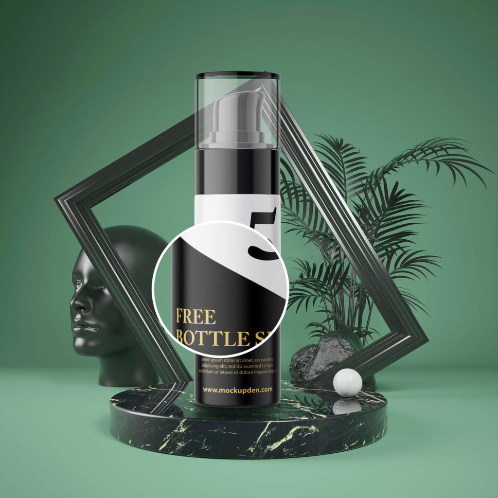Close Up Of a Free Bottle Spray Mockup PSD Template