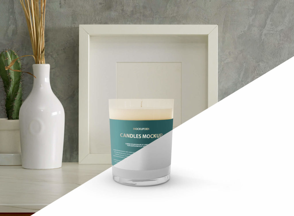 Close Up Of a Free Candle Mockup PSD Template 2