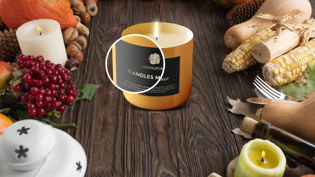 Close Up Of a Free Candles Mockup PSd Template