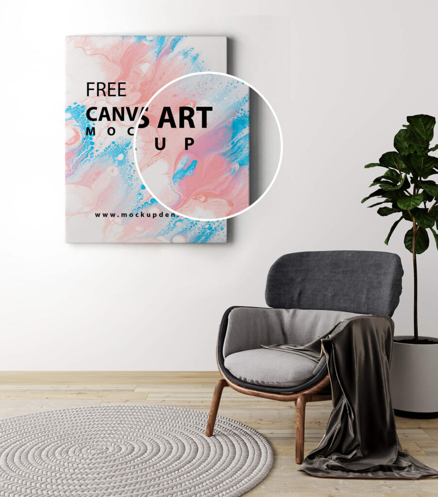 Close Up Of a Free Canvas Art Mockup PSD Template