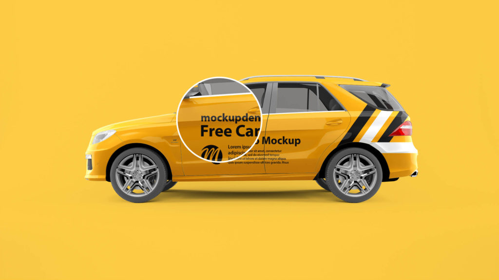 Close Up Of a Free Carro Mockup PSD Template