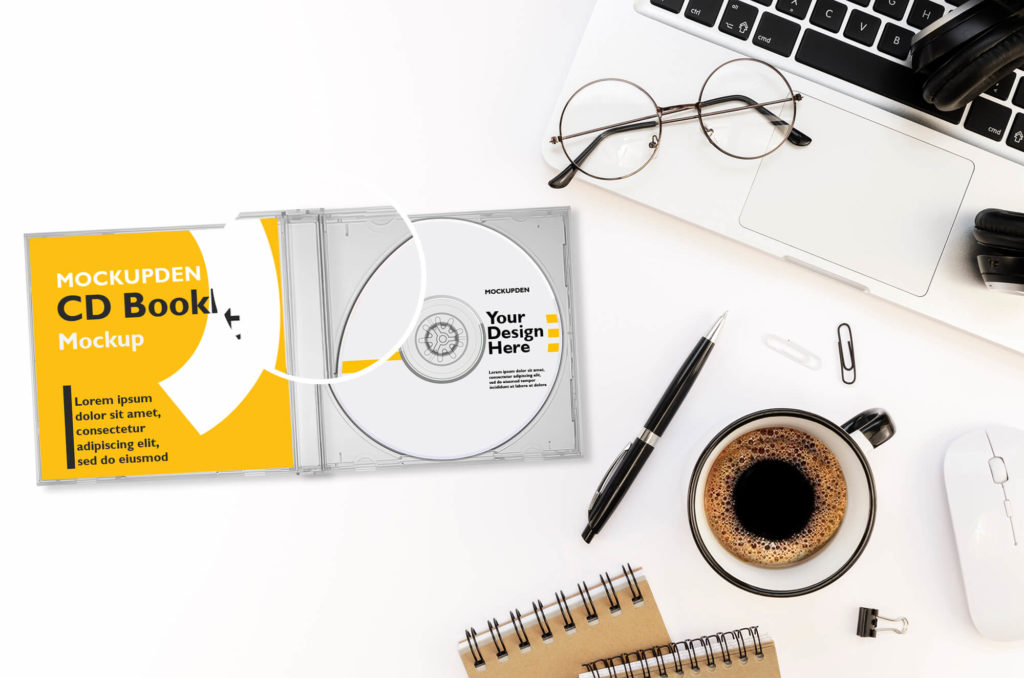 Close Up Of a Free Cd Booklet Mockup PSD Template