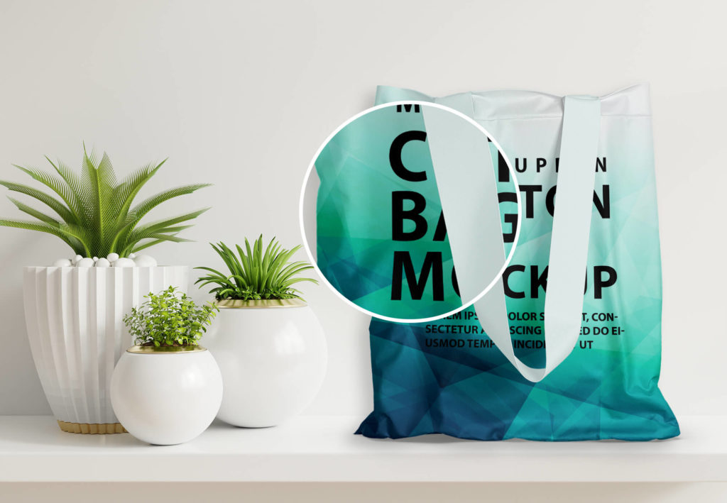 Close Up Of a Free Cotton Bag Mockup PSD Template