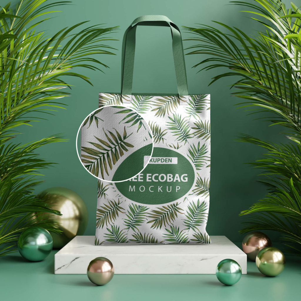 Close Up Of a Free Ecobag Mockup PSD Template