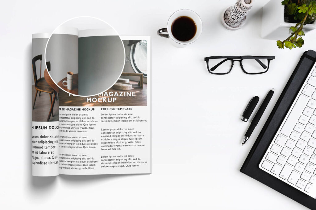 Close Up Of a Free Folded Magazine Mockup PSD Template