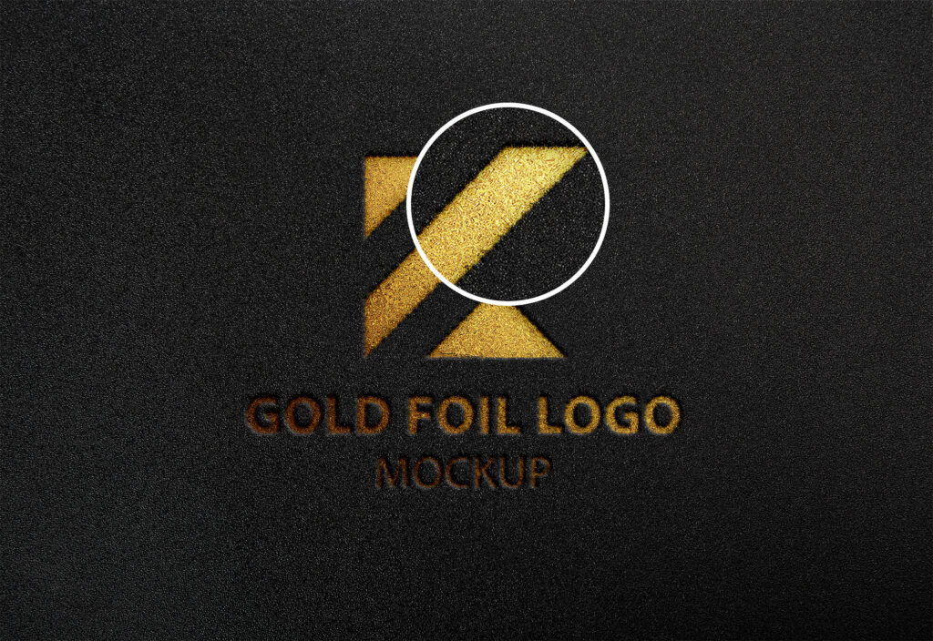 Close Up Of a Free Gold Foil Logo Mockup PSD Template - Copy