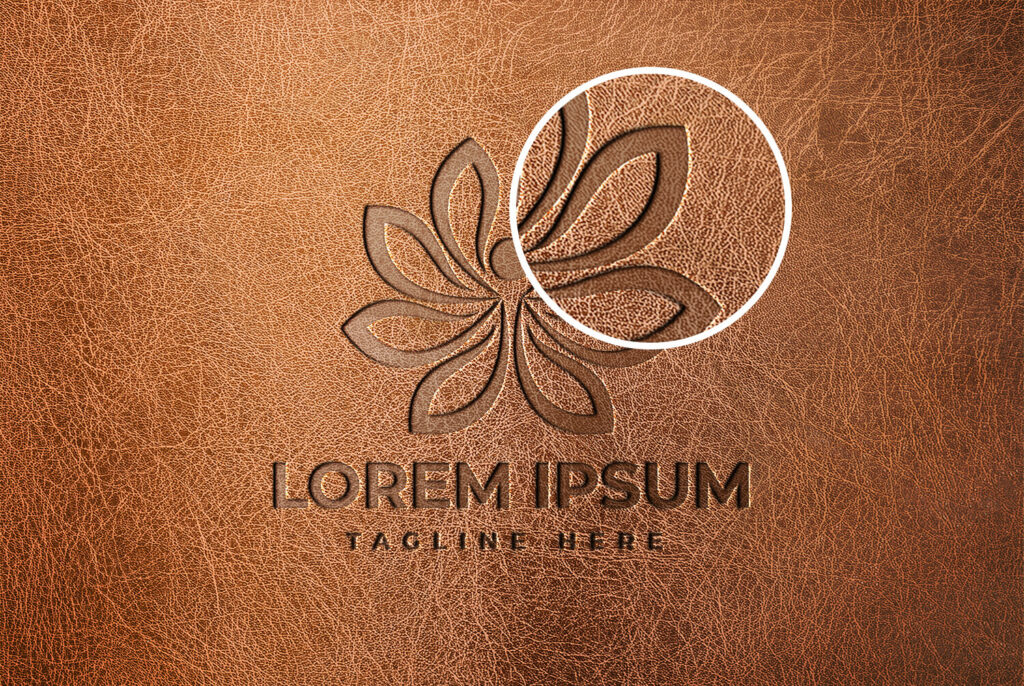 Close Up Of a Free Leather Logo Mockup PSD Template