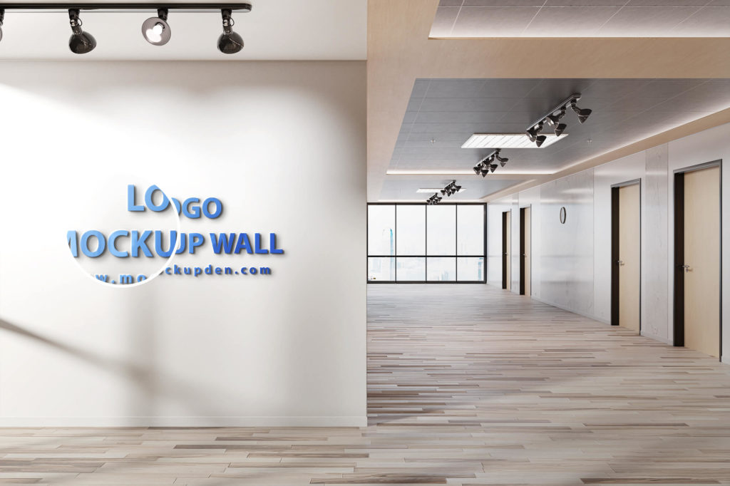 Close Up Of a Free Logo Mockup Wall PSD Template