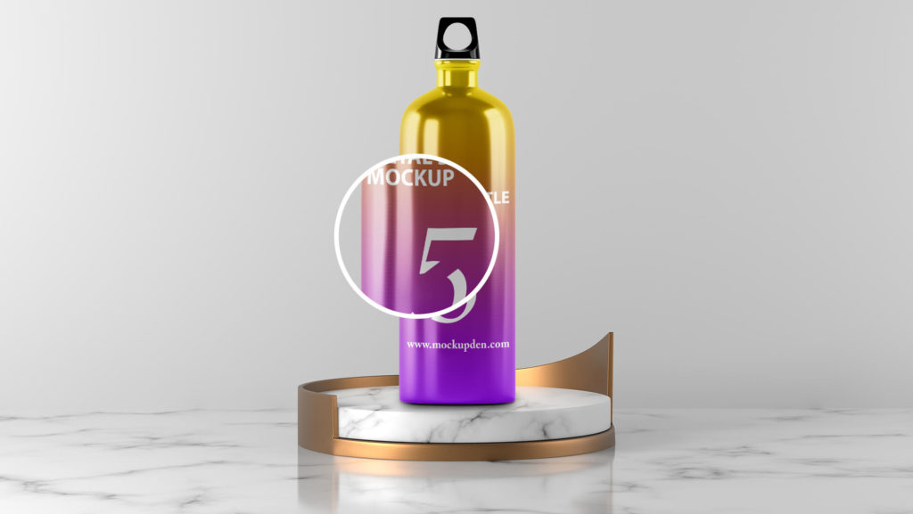 Close Up Of a Free Metal Bottle Mockup PSD Template