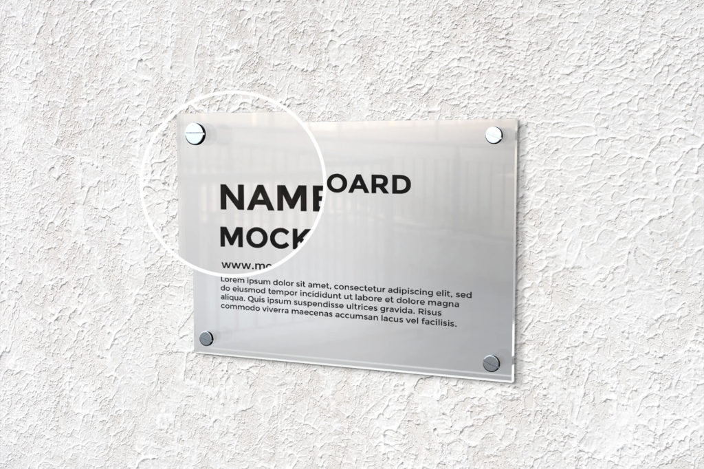 Close Up Of a Free Name Board Mockup PSD Template