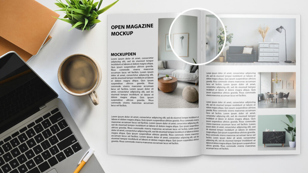 Close Up Of a Free Open Magazine Mockup PSD Template