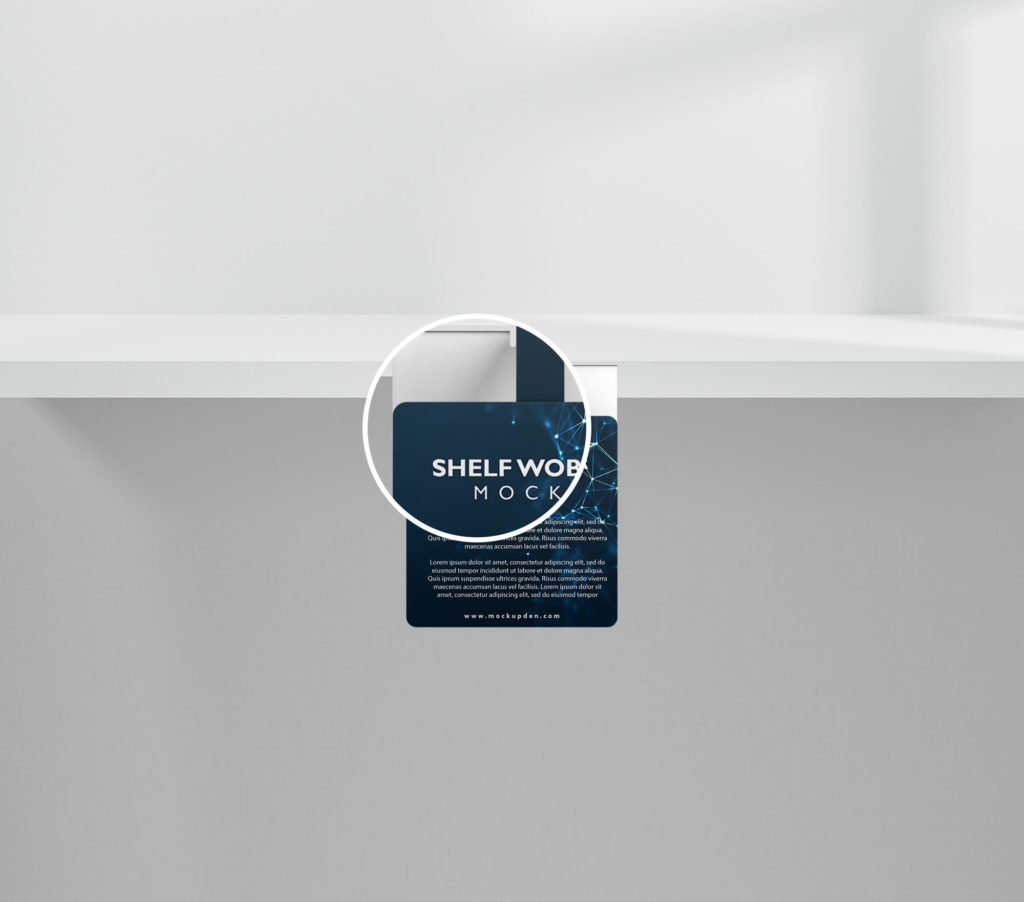 Close Up Of a Free Shelf Wobbler Mockup PSD Template