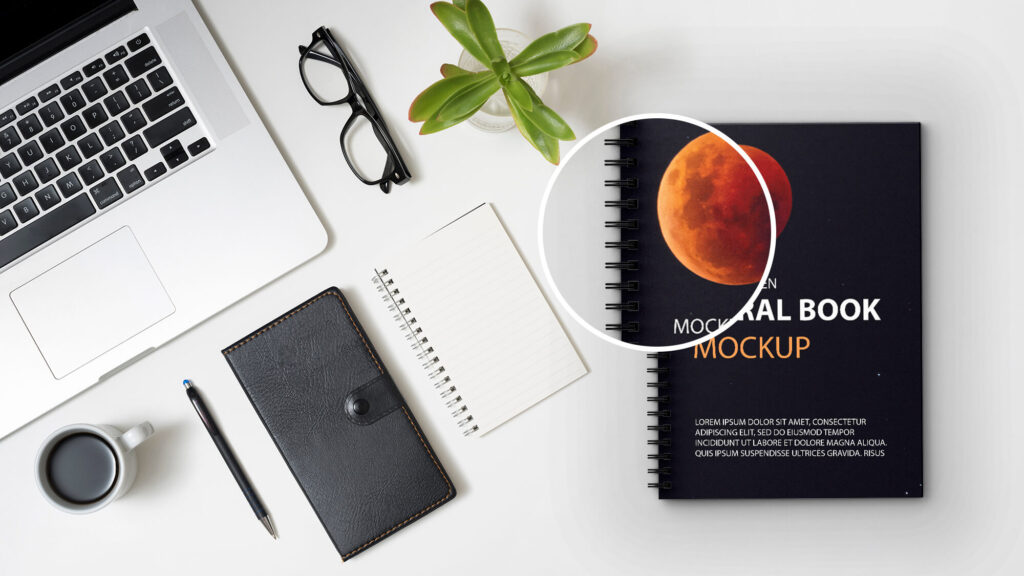 Close Up Of a Free Spiral Book Mockup PSd Template