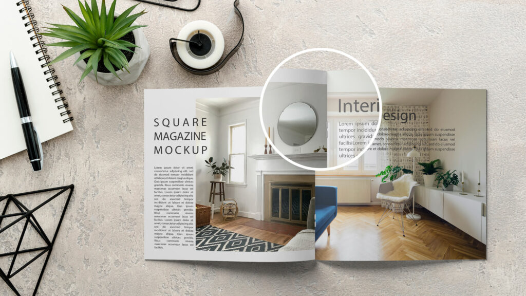 Close Up Of a Free Square Magazine Mockup PSD Template