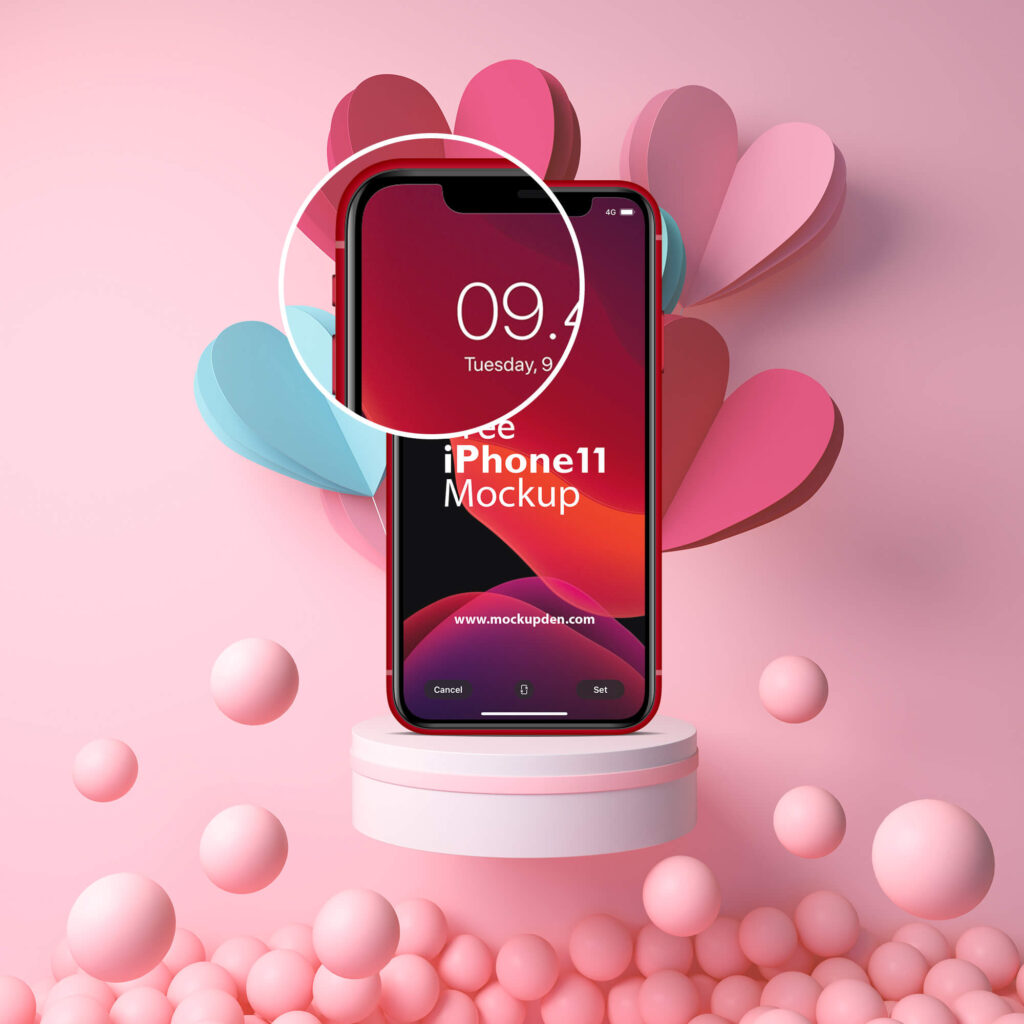 Close Up Of a Free iPhone11 Mockup PSD Template