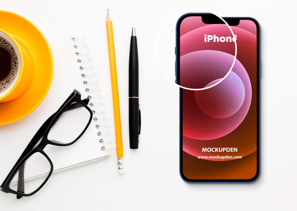 Close Up Of a Free iPhone12 Mockup PSD Template