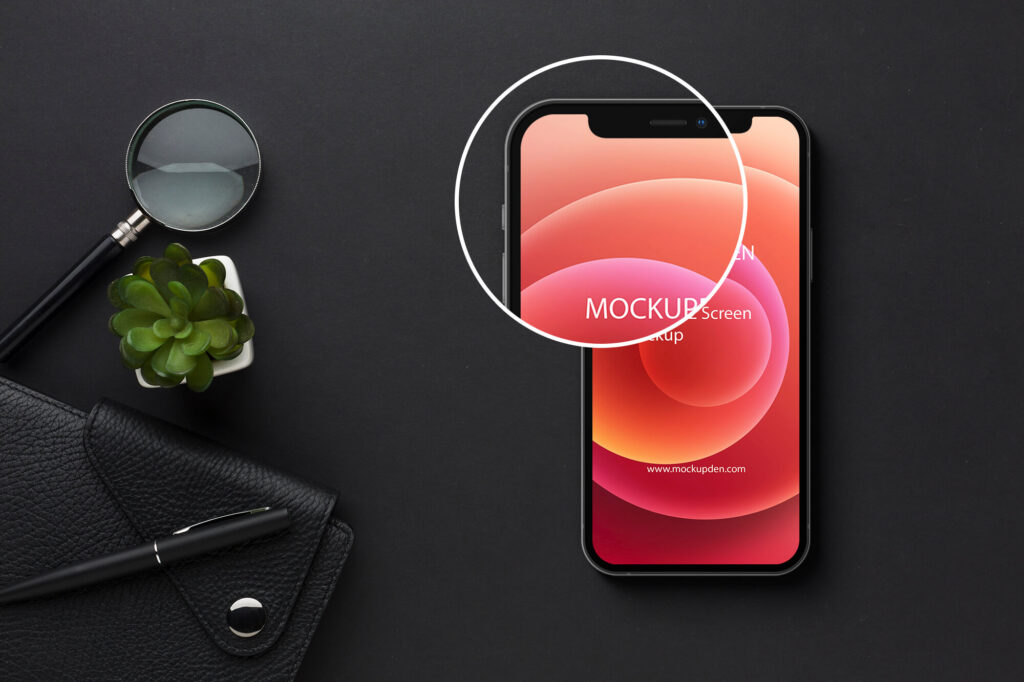 Close Up Of a Free iPhone12 Screen Mockup PSD Template