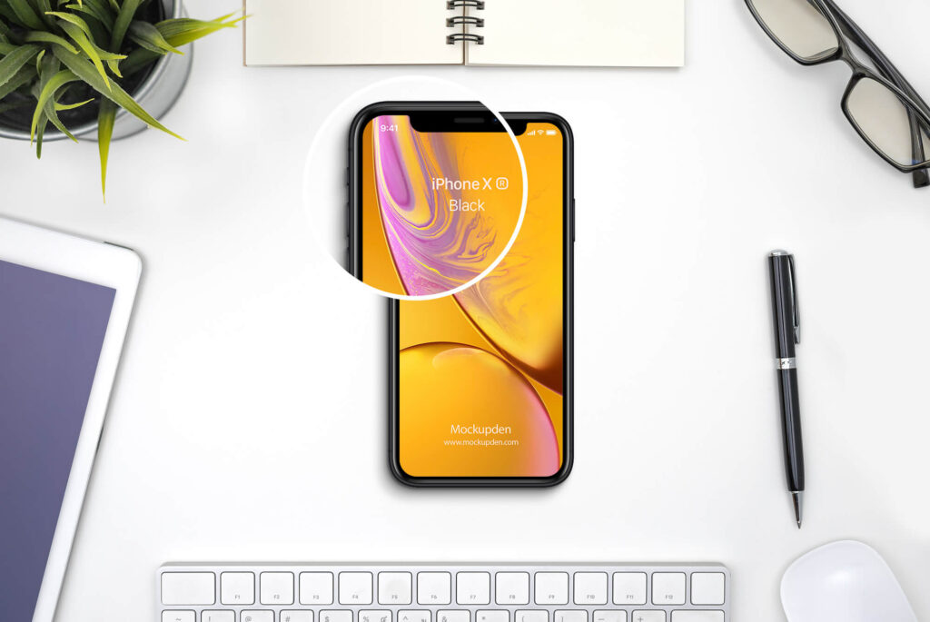 Close Up Of a Free iphone xr Mockup PSD Template