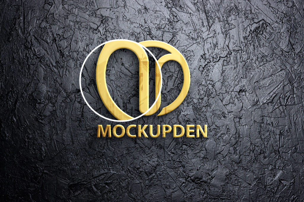 Close Up Of a Gold Logo Mockup Free PSD Template