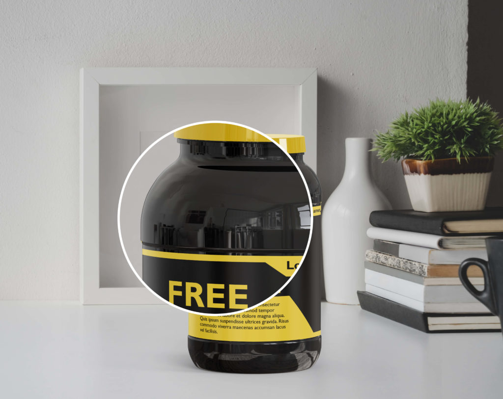 Cose Up Of a plastic jar mockup free PSD Template