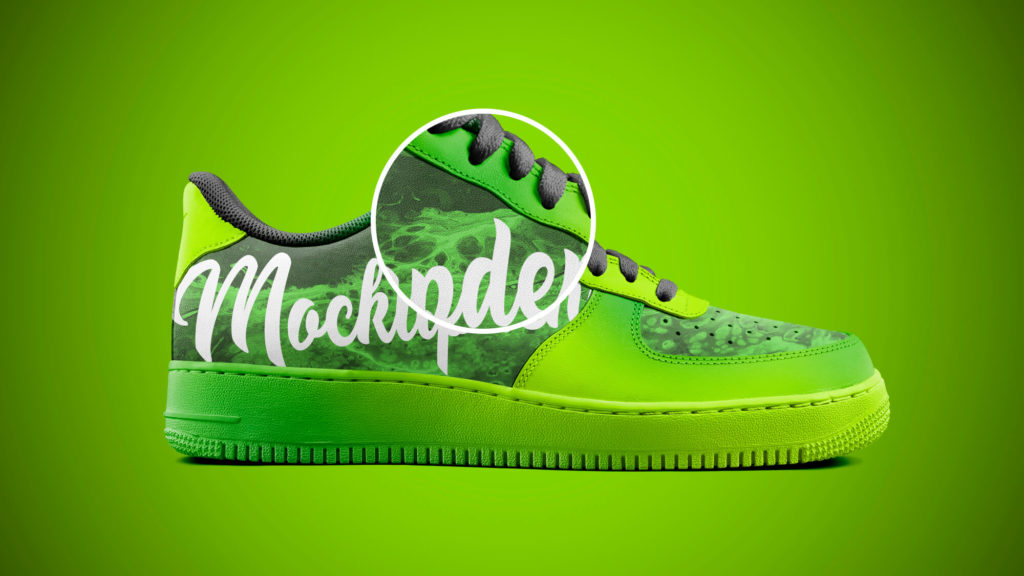 Close up Of a Free Sneakers Mockup PSD Template