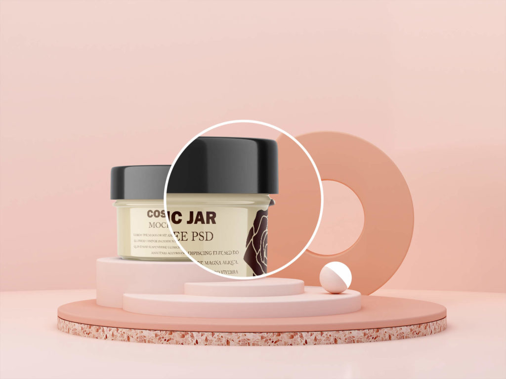 Close up of a Cosmetic Jar Mockup Free PSD Template