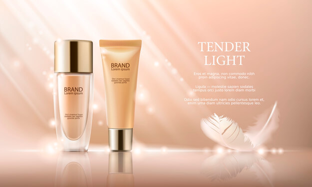 Colorstay make-up in elegant packaging on a background of drop of foundation Free Vector