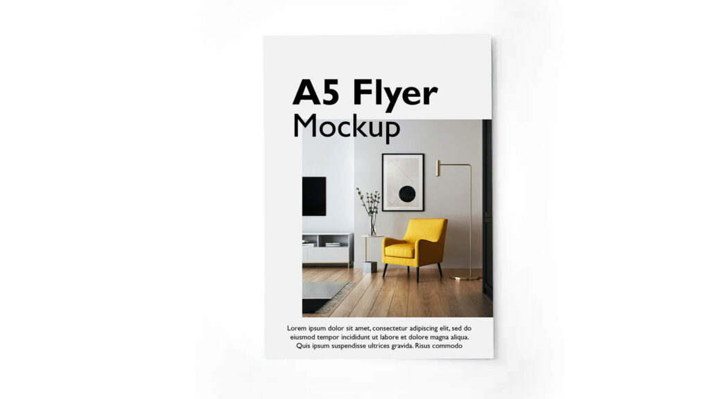 Design Free A5 Flyer Mockup PSD Template