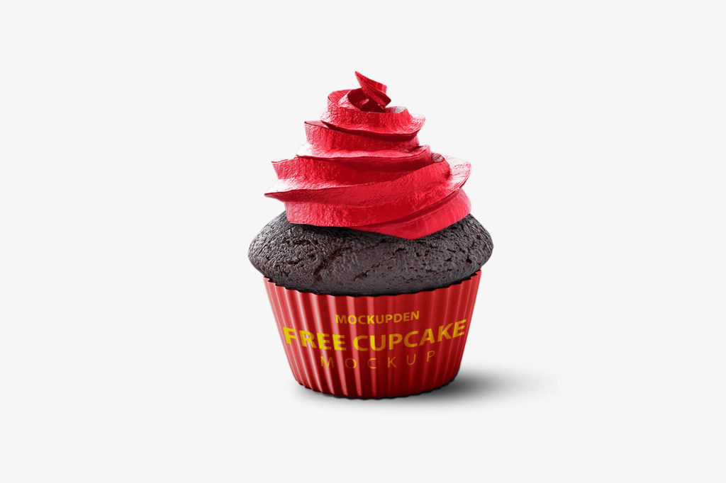 Design of Free Strawberry Cupcake Mockup PSD Template