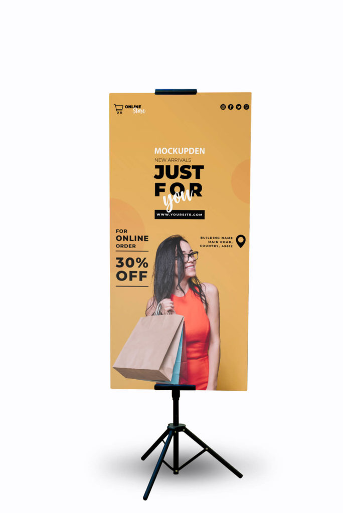 Design Free Mall Banner Mockup PSD Template