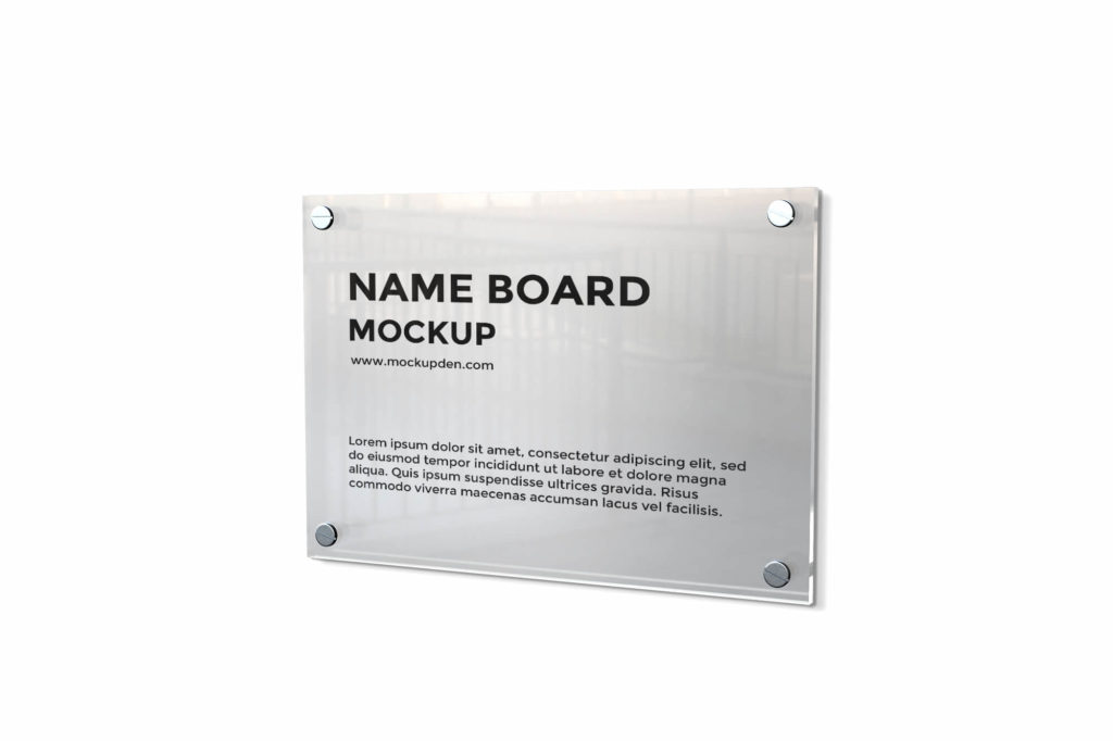 Design Free Name Board Mockup PSD Template