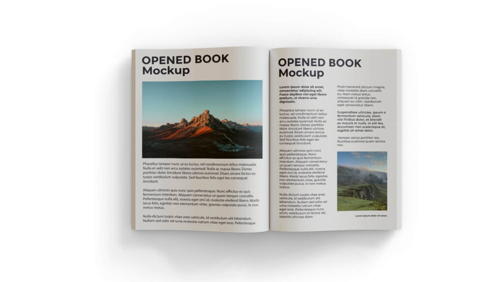 Design Free Opened Book Mockup PSD Template
