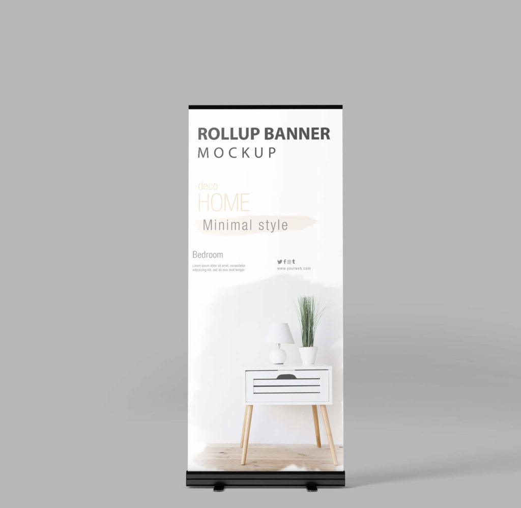 Design Free Rollup Banner Mockup PSD Template