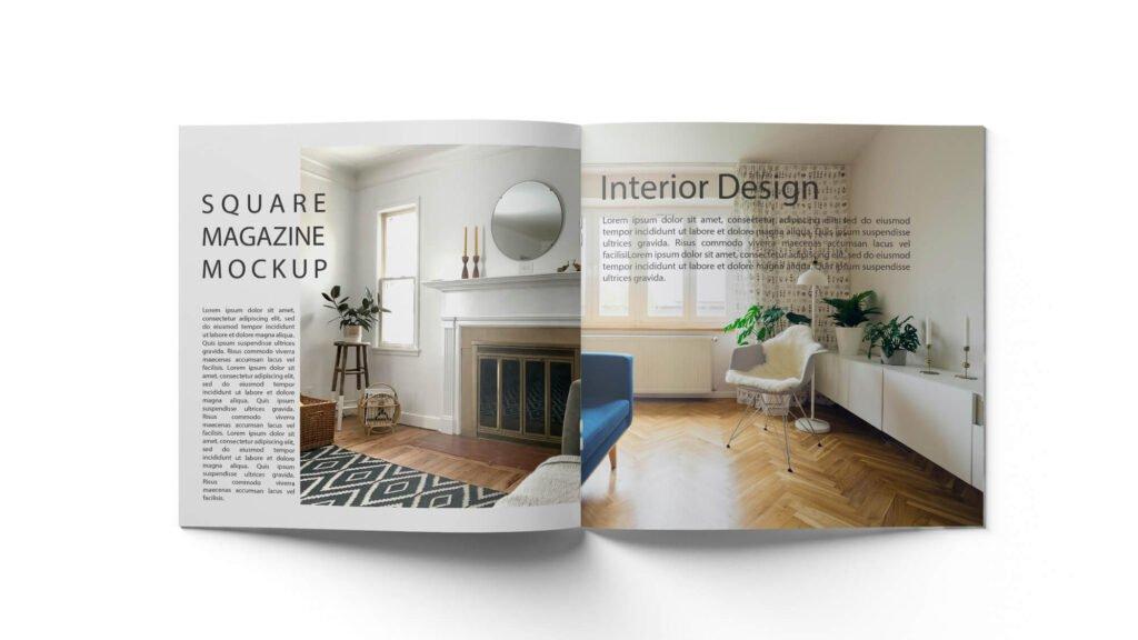 Design Free Square Magazine Mockup PSD Template