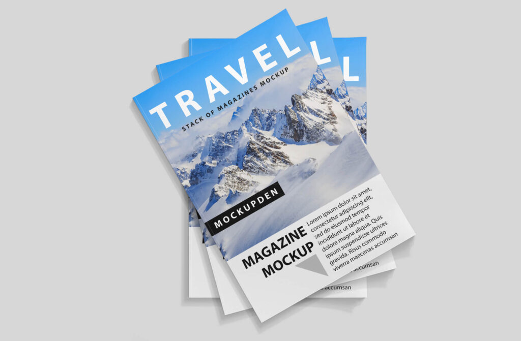Design Free Stack Of Magazines Mockup PSD Template