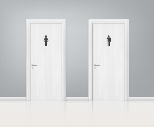 Doors wc realistic composition Free Vector