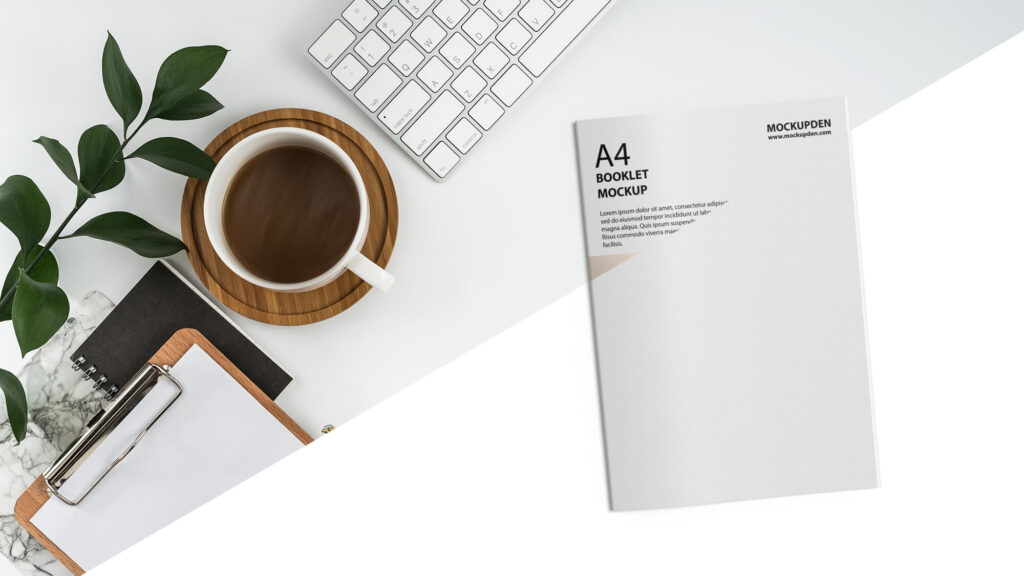 Editable Free A4 Booklet Mockup PSD Template