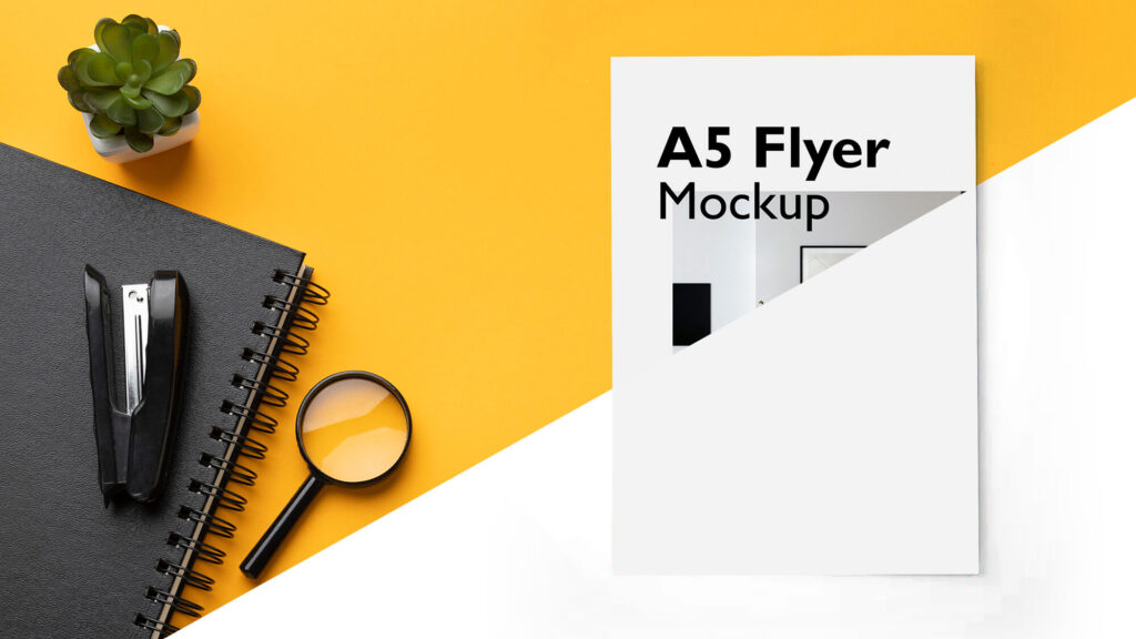 Editable Free A5 Flyer Mockup PSD Template
