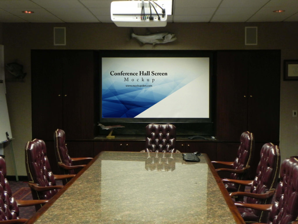 Editable Free Conference Hall Screen Mockup PSD Template