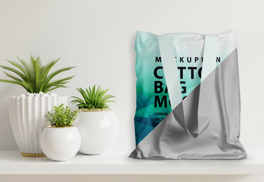 Editable Free Cotton Bag Mockup PSD Template