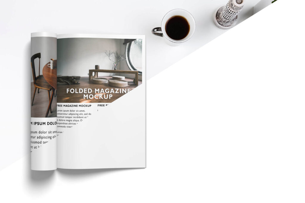 Editable Free Folded Magazine Mockup PSD Template
