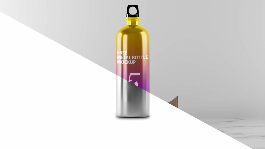 Editable Free Metal Bottle Mockup PSD Template