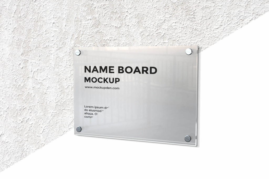 Editable Free Name Board Mockup PSD Template