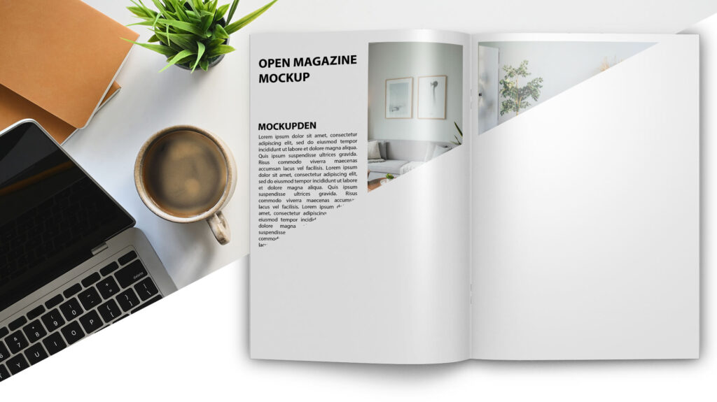 Editable Free Open Magazine Mockup PSD Template