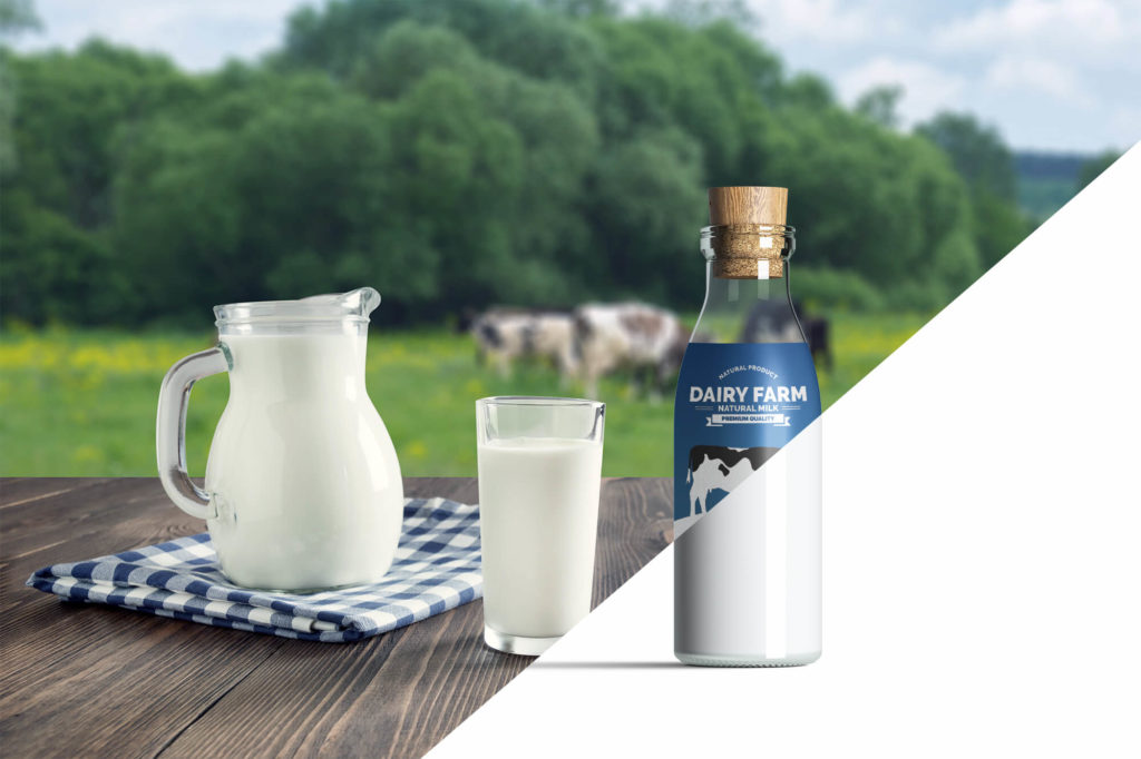 Editable Milk Bottle Mockup Free PSD Template