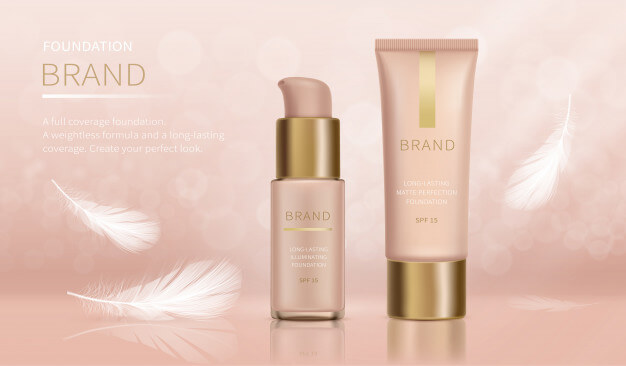 Foundation with full coverage and weightless Free Vector