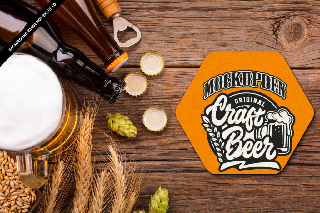 Free Beer Coaster Mockup PSD Template 1